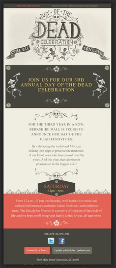 Beautiful Email Newsletter, Day of the Dead (Nice illustration)