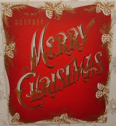 UNUSED - Gold Accents - Merry Christmas - 40's Vintage Christmas Greeting Card