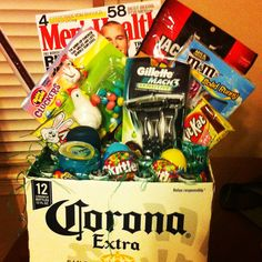 Adult easter basket holidays pinterest easter baskets easter made this easter basket for my boyfriend so easy and a huge hit just cut the top off of the box of beer and i stuffed the easter grass inside to keep negle Images