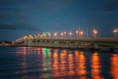 The Bridge of Lions in St. Augustine, Florida crosses the Mantanzas River linking downtown with the beaches.