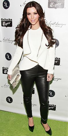 Supporting Avril Lavigne at her Goodbye Lullaby Launch Party in NYC wearing Preen Line skinny pants.