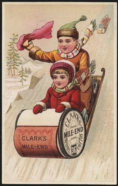 Late 1800s Clark's Mile-End 36 Spool Cotton Thread Trade Card