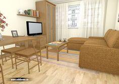 Infografía 3d de salón comedor para propuesta de reforma de piso en el centro de Gijón www.nddiseno.es