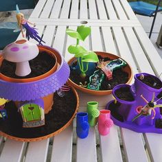 Michele and Ilah's new toy garden! This is totally non-green-thumb-friendly, I could even manage! Let's see how it grows. My Fairy Garden, Child Love, Growing Plants, New Toys, Green