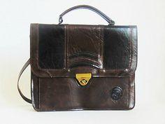 brown leather handbag vintage handbag vintage bag by SARADECORA