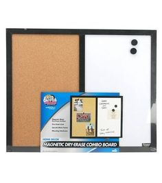 the magnetic combo board is half bulletin board and half white board perfect for the classroom or office use dry erase markers on white board and pins on