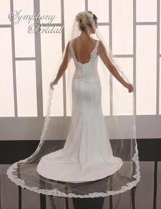Gorgeous!  Lace Cathedral Length Wedding Veil Symphony Bridal 6763VL - Affordable Elegance Bridal -