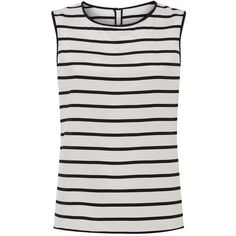 St. John Striped Shell Top ($480) ❤ liked on Polyvore featuring tops, boxy top, st. john, striped top, sleeveless shell top and nautical tops