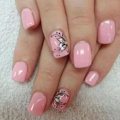 Try some of these designs and give your nails a quick makeover, gallery of unique nail art designs for any season. The best images and creative ideas for your nails. Nail Art Designs 2016, Flower Nail Designs, Flower Nail Art, Nail Designs Spring, Gel Nail Designs, Nails Design, Floral Designs, Light Pink Nail Designs, Butterfly Nail