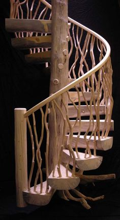 The meticulous and cleanhand peeling brings out the warm color of theses laurel branches.The balusters are not simply finish nailedor drywall screwed together. They are tenon into the rail along with assisted modern fastening techniques.