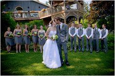 bridal party, classic groomsmen attire, groomsmen in vests, gray bridesmaids dresses, gray and green rustic garden wedding