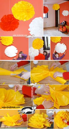 TISSUE PAPER BALLS // make the girls' rooms more fun and funky!