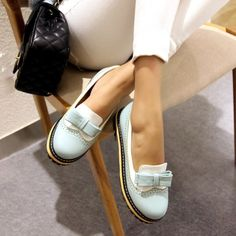 Wish | Fashion Party Shoes Spring Summer Women Round Toe Platform Flat Shoes with Bow