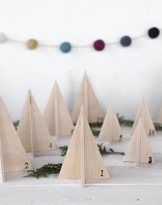 Wooden Tree Advent Calendar - The Merrythought Homemade Christmas Decorations, Wooden Christmas Trees, Wooden Tree, Christmas Love, Wooden Diy, Christmas Crafts, Christmas Ornaments, Advent Calenders, Diy Advent Calendar
