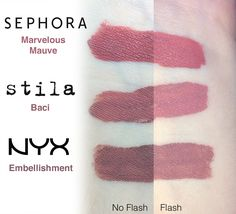 Sephora Cream Lip Stain in Marvelous Mauve, Stila Stay All Day Liquid Lipstick in Baci, and NYX Lip Lingerie in Embellishment Dupe