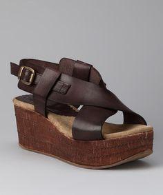 Take a look at this Sixty Seven Mocha Cross-Strap Platform Sandal by Sixty Seven