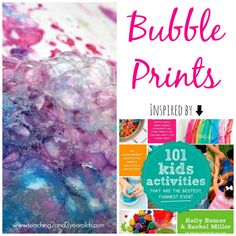 """Teaching 2 and 3 Year Olds: Preschool Art: Bubble Prints - Inspired by the new book Kids Activities"""" Preschool Centers, Preschool Crafts, Diy Crafts For Kids, Art For Kids, Toddler Activities, Preschool Activities, Outdoor Activities, Bubble Mix, Bubble Painting"""