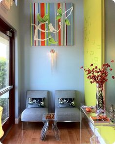 dentist office waiting room. I like the bright colors and homey feel.