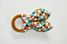 Organic+Wood+Teething+Ring%2FCrinkle+Toy%2C+Aqua%2FOrange+Colorful+Triangle+Organic+Cotton+Knit+with+Unbleached+Organic+Bamboo+Terry