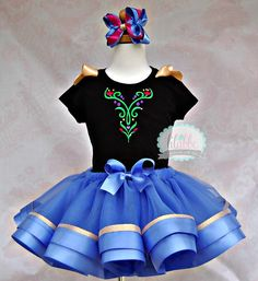 Anna Costume Frozen Tutu SetIncludes Top Ribbon by lilabbehandmade, $75.99