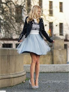 this look is a total winner...the leather and tulle combo is killing it