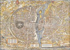 """""""Paris Map 1550"""" Grafik/Illustration von vintage jetzt als Poster, Kunstdruck oder Grußkarte kaufen.."""