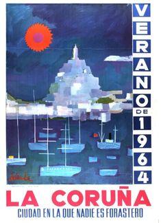 ABELENA, Alfonso (1931-). La Coruña, ciudad en la que nadie es forastero : verano de 1964 / Abelenda. -- [A Coruña : Concello da Coruña, 1964] (Coruña : Roel). -- 1 lám. (cartel) : il. cor ; 101 x 71 cm. Vintage Typography, New Poster, Wine Label, Graphic Design Posters, Vintage Travel Posters, Illustrations And Posters, Spain Travel, Retro Design, City