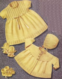 Baby Dress Jacket Bonnet Bootees and Mittens for sizes 20 – 21 ins – PDF of Vintage Knitting Patterns Knitting Terms, Knitting Wool, Vintage Knitting, Baby Knitting Patterns, Baby Patterns, Dress Patterns, Double Knitting, Pattern Dress, Knit Baby Dress