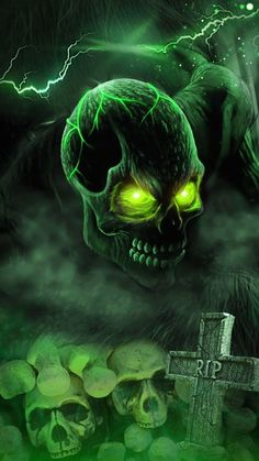 RIP Skull wallpaper, full theme pack with green smoke and thunder.-- RIP Skull wallpaper, full theme pack with green smoke and thunder. Scary Wallpaper, Skull Wallpaper, Halloween Wallpaper, Wallpaper Pictures, Grim Reaper Art, Badass Skulls, Ghost Rider Marvel, Totenkopf Tattoos, Skull Artwork