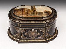 Papier Mache Sewing Box. #antique #vintage #box