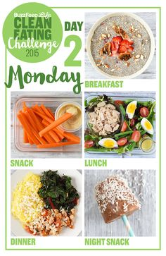 Clean Eating Diet Here's A Two-Week Clean Eating Challenge That's Actually Delicious - This is a delicious two-week meal plan that will teach you to cook and eat healthy, feel awesome, and stay that way. Just like last year's, but better. Lunch Snacks, Healthy Snacks, Healthy Eating, Lunches, Real Food Recipes, Diet Recipes, Healthy Recipes, Food Tips, Easy Recipes