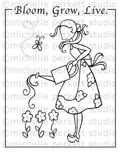 Digital stamp Set Image Flowers Gardening Gardener Watering Can Summer stamping scrapbooking cardmaking