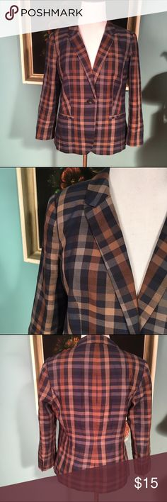 """The limited plaid jacket/blazer The limited plaid blazer. The bust is 37"""", the waist is 32"""", shoulders are 15"""" and the sleeves are 19 3/4"""". It is lined, has two pockets (they haven't been opened) and each sleeve has buttons. The Limited Jackets & Coats Blazers"""