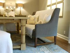 Dining Room. Rustic Pine Wood Banquette Bench With Back Using Grey Velvet  Seat And Rustic