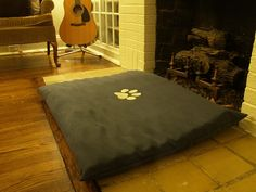 Homemade dog bed from an egg crate mattress and fabric