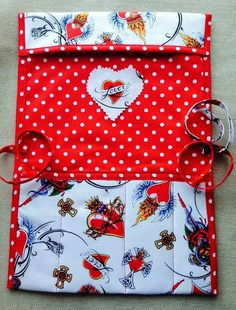 Knitting needle case roll lover crochet needle case love vintage heart tattoo red polka fabric handmade Valentine's Day Birthday gift
