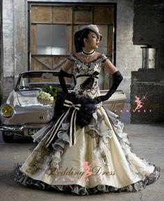 Steampunk Wedding Dress from WeddingDressFantasy.com #steampunk - ☮k☮
