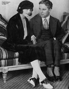 """Pola Negri and Charlie Chaplin. Negri had met Chaplin while in Germany, and what began as a platonic relationship there became a well-publicized affair and marriage speculation which received the headline, """"The Queen of Tragedy To Wed The King of Comedy""""."""