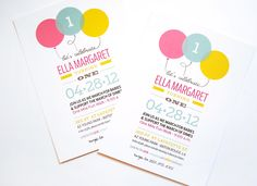Balloon birthday party invitation by papernplay on etsy 1500 balloon birthday party invites filmwisefo Image collections