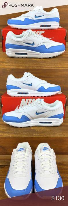 Nike Air Max 1 Premium Jewel Blue White Shoes 😁Brand New - Never Worn - 9696eeeaea14d