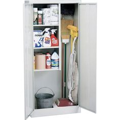 """Sandusky Janitorial Supply Cabinet, 66""""H x 30""""W x 15""""D, Dove Gray   Staples"""