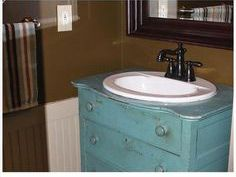 Reused drawer chest into a vanity sink