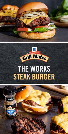 Your summer celebration deserves The Works Steak Burger. Give your burger recipe a kick with Grill Mates Montreal Steak Seasoning for epic flavor in less than 20 minutes. Hamburger Recipes, Meat Recipes, Cooking Recipes, Recipies, Steak Burger Recipe, Good Food, Yummy Food, Grilling Recipes, Grilling Ideas