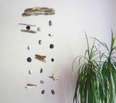 DRIFTWOOD and FELT PEBBLES Mobile Handmade Wall by FeelFeltFelt