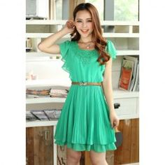 $10.55 Ladylike Crochet Lace Embellished Sold Color Chiffon Pleated Dress With Belt For Women