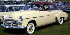 In 1949, all the Chevrolets got the first new styling after the war. The Deluxe was the brand new upper-end model for Chevrolet. Many things changed starting in 1950, starting with a luxuriously-appointed hardtop coupe, called the Bel Air. The new Bel Air including upgraded cord and leather-grain vinyl trim (available in a choice of several two-tone schemes), full carpeting and other appointments not available in even the Deluxe series, and a wide range of two-tone paint schemes.