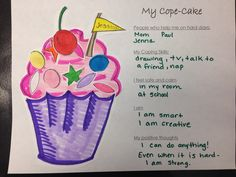 Cope-cake activity- part of a coping skills activity packet. Make a small cupcake or a large cupcake. Helps children identify their social supports and coping skills (including positive self-talk) through a fun game. Elementary School Counseling, School Social Work, School Counselor, Elementary Art, Counseling Activities, Art Therapy Activities, Therapy Ideas, Group Activities, Children Activities
