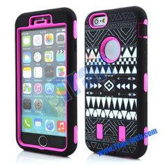 Black Tribal Pattern 3 in 1 Detachable Matte PC+Silicone Hybrid Case for iPhone 6 Plus 5.5 inch(Rose)
