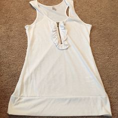 Used White Racerback Zip Up Tank by Max Rave L Used White Zip Up Racerback Tank by Max Rave or Rave Max Size Large. Polyester and Rayon. Rave Max Tops Tank Tops