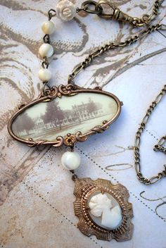 The Lady of the House. Antique Estate Portrait Brooch Shell Cameo Ivory Rose Mother of Pearl Necklace.